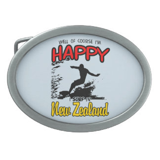 Happy Surfer NEW ZEALAND (Blk) Belt Buckle