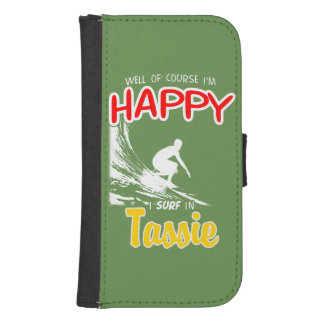 Happy Surfer TASSIE (Wht) Samsung S4 Wallet Case