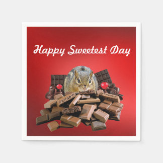 Happy Sweetest Day Chipmunk Paper Napkin