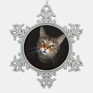 Happy Tabby Wiskers Pewter Snowflake Ornament