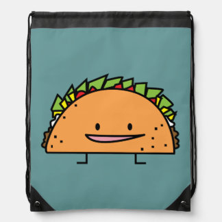 Happy Taco corn shell beef meat salsa Mexican food Drawstring Bag