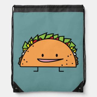 Happy Taco corn shell beef meat salsa Mexican food Drawstring Bag