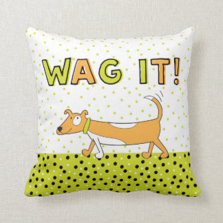 Happy Tail Wagging Dog Throw Pillow