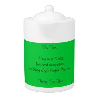 Happy Tea Time Quote Green White Porcelain Teapot