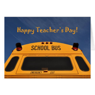 Happy Teacher's Day Yellow School Bus Photograph Card