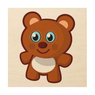 HAPPY TEDDY BEAR WOOD PRINT