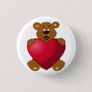 Happy teddybear with heart cartoon 1 inch round button