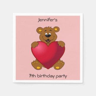 Happy teddybear with heart cartoon girl birthday disposable napkins
