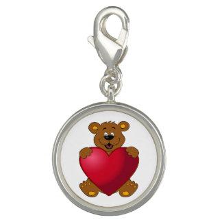 Happy teddybear with heart cartoon girls charms