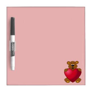 Happy teddybear with heart cartoon girls Dry-Erase whiteboards