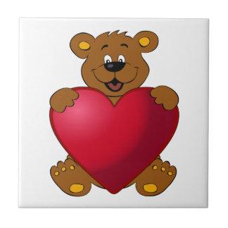 Happy teddybear with heart cartoon kids tile