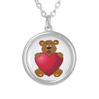 Happy teddybear with heart cartoon silver plated necklace