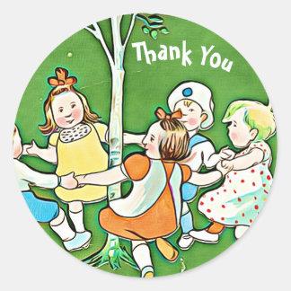 Happy Thank You stickers, children dancing, green Round Sticker