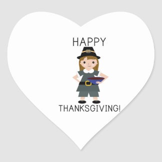 Happy Thanks Giving Heart Sticker