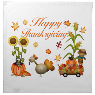 Happy Thanksgiving Autumn Leaves Pumpkin & Turkey Napkin