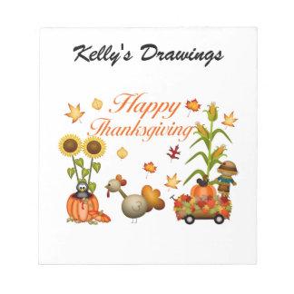 Happy Thanksgiving Autumn Leaves Pumpkin & Turkey Notepads
