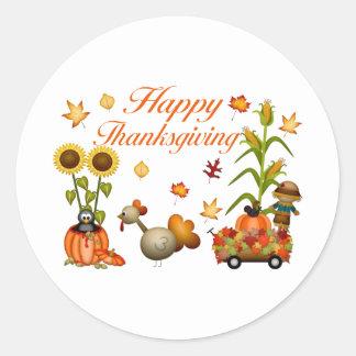 Happy Thanksgiving Autumn Leaves Pumpkin & Turkey Round Sticker