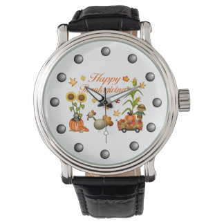 Happy Thanksgiving Autumn Leaves Pumpkin & Turkey Wristwatches