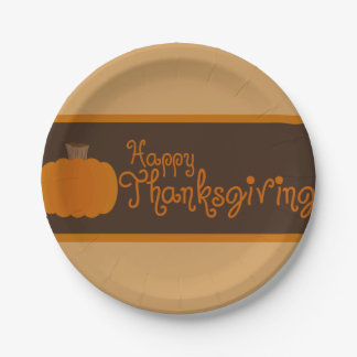 Happy Thanksgiving Autumn Pumpkin Paper Plate