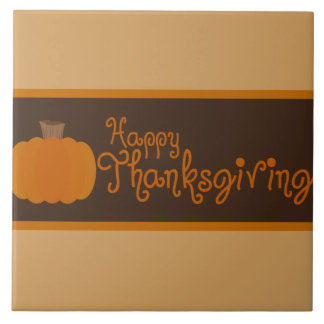 Happy Thanksgiving Autumn Pumpkin Tile