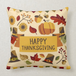 Happy Thanksgiving Banner Throw Pillow