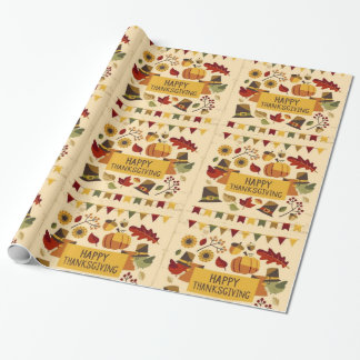 Happy Thanksgiving Banner Wrapping Paper