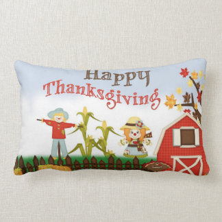 Happy Thanksgiving Barn Yard Lumbar Pillow