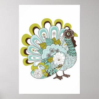Happy Thanksgiving Beautiful Turkey Card 2 Poster