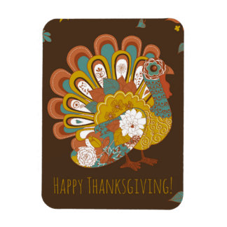 Happy Thanksgiving Beautiful Turkey Card Rectangular Photo Magnet