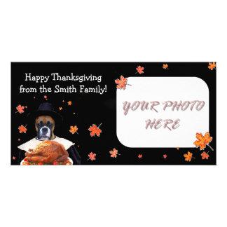 Happy Thanksgiving boxer dog photocard Custom Photo Card