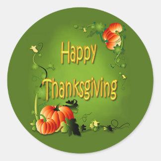 HAPPY THANKSGIVING by SHARON SHARPE Classic Round Sticker