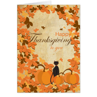 Happy Thanksgiving cards cat and pumpkins