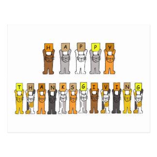 Happy Thanksgiving Cartoon Cats Postcard