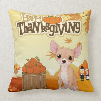 Happy Thanksgiving  Chihuahua Throw Pillow