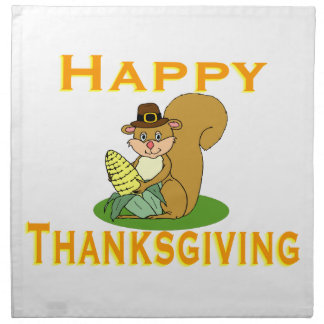 Happy Thanksgiving Chipmunk With Corn Cloth Napkins