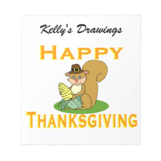 Happy Thanksgiving Chipmunk With Corn Notepad