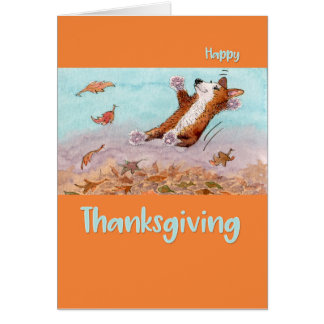 Happy Thanksgiving, Corgi dog jumping in leaves Card