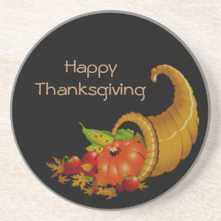 Happy Thanksgiving Cornucopia Coaster