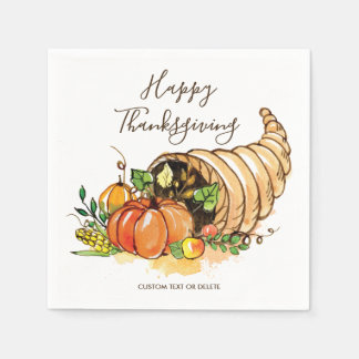Happy Thanksgiving Cornucopia Fall Harvest Custom Paper Napkin