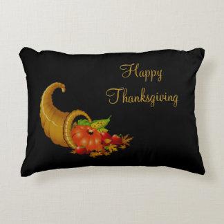 Happy Thanksgiving Cornucopia / Horn of Plenty Decorative Pillow