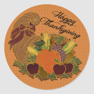 Happy Thanksgiving Cornucopia Orange Stickers
