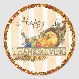 Happy Thanksgiving Cornucopia Stickers