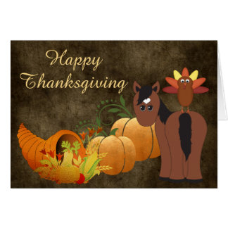 Happy Thanksgiving Cute Brown Horse and Turkey Card