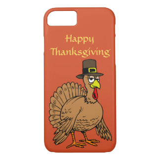 Happy Thanksgiving Cute Turkey Pilgrim Cartoon iPhone 8/7 Case