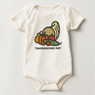Happy Thanksgiving Day Cornucopia Design Baby Bodysuit