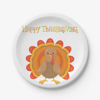 Happy Thanksgiving Day Dinner Paper Plate
