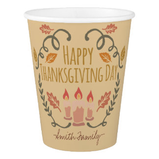 Happy Thanksgiving Day. Family Celebration. Paper Cup