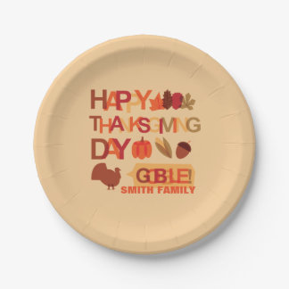 Happy Thanksgiving Day Family Dinner Celebration Paper Plate