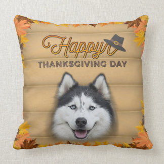 Happy Thanksgiving Day Husky Throw Pillow