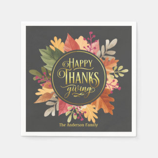 HAPPY THANKSGIVING ELEGANT FALL LEAVES WREATH DISPOSABLE NAPKIN